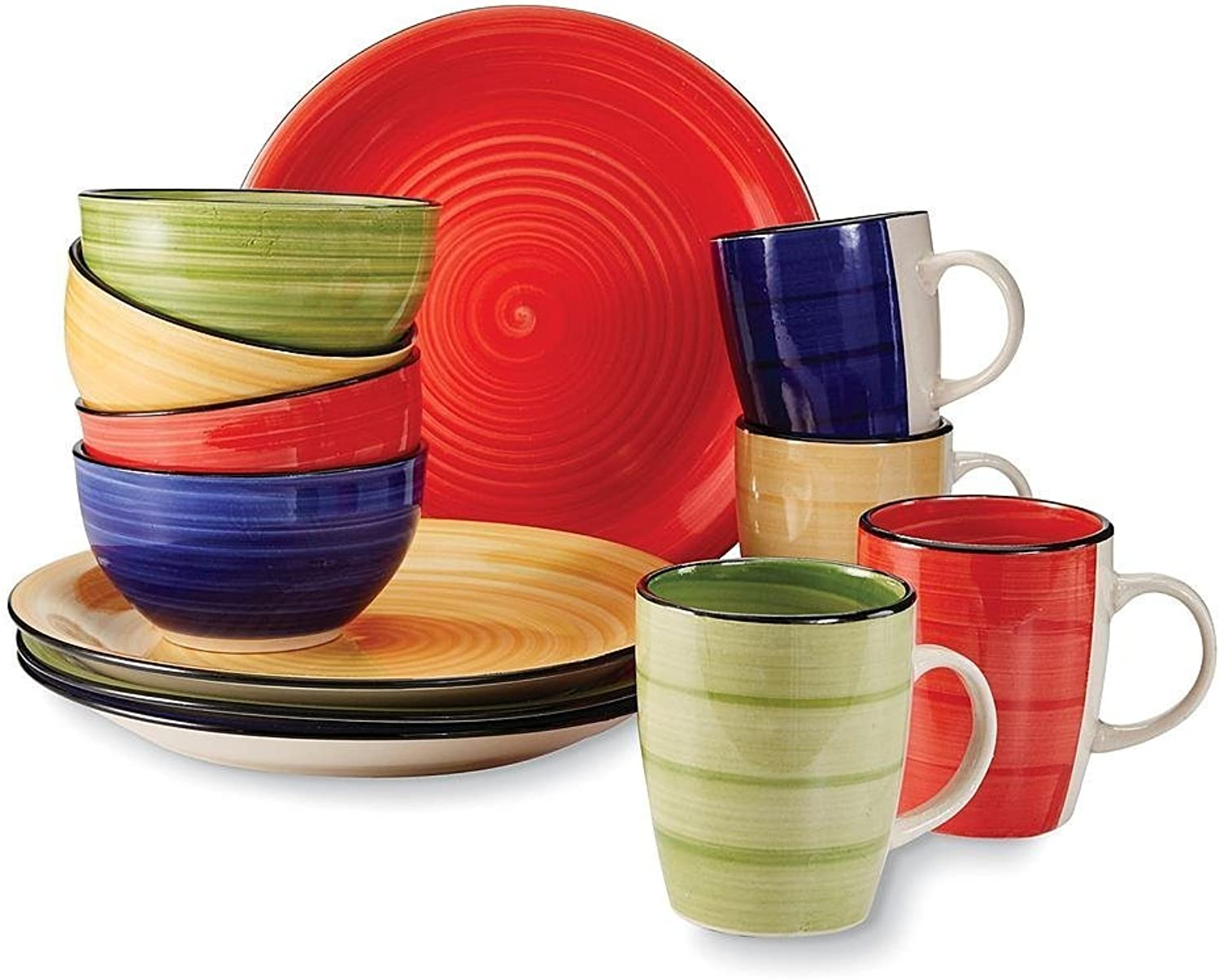 Supreme Quality Gibson 12 Piece color Vibes Stoneware Dinnerware Set for 4