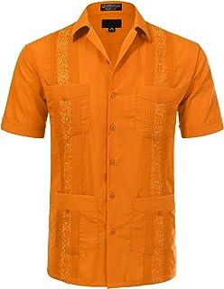 Allsense Men's Short Sleeve Cuban Guayabera Shirts