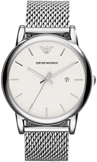 Emporio Armani Classic For Men White Dial Stainless Steel Band Watch - Ar1812, Analog Display, Japanese Quartz Movement