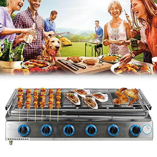 DYRABREST 6 Burner LPG Gas BBQ Grill Stainless Steel Smokeless Roaster Height Adjustable Tabletop Grill Indoor Outdoor Picnic Camping Barbecue Grill (US Stock) Gas Grills Natural