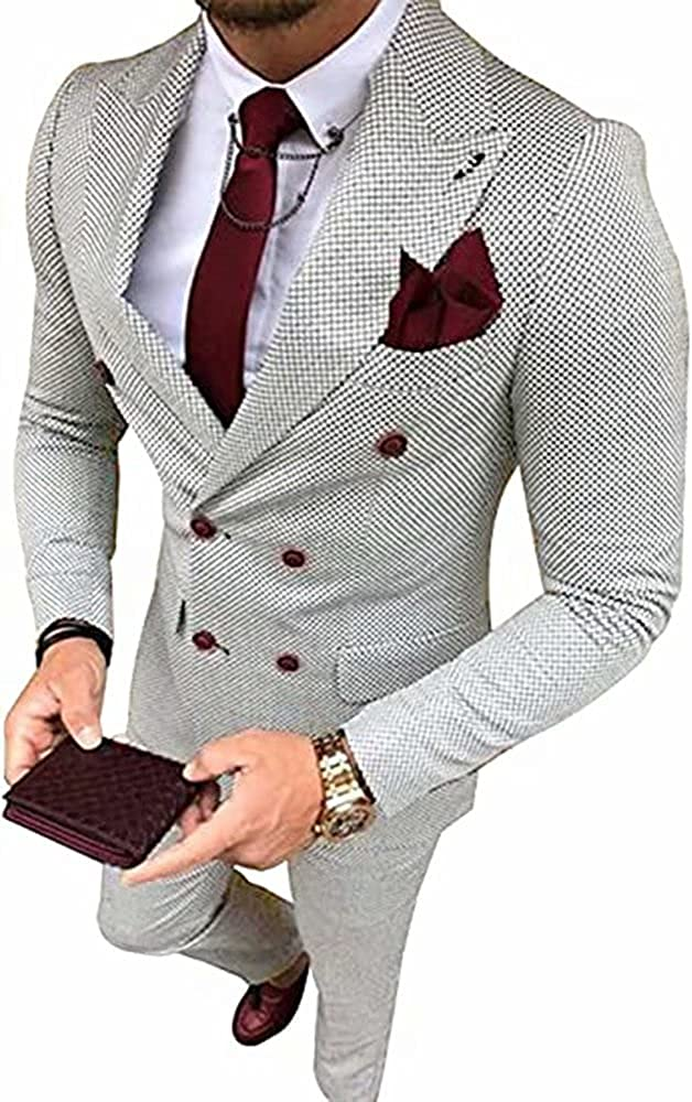 Mens 2 Piece Suit Slim Fit Double Breasted Blazer and Pants Prom Tuxedo for Men