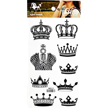 Amazon Com Set Of 5 Waterproof Temporary Tattoo Stickers Royal Crowns King Queen Designs Body Art Beauty,Hand Made Embroidery Designs On Shirts