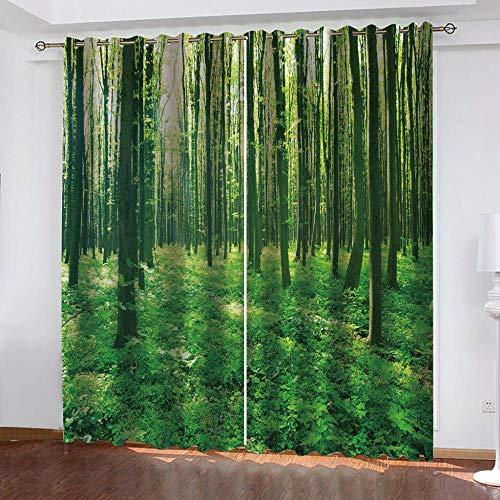 Verdunkelungsvorhang Kräuselband Üppige Wälder Mit Ösen Gardine Für Schlafzimmer, Kinderzimmer 2 Stück Verdunkelungsvorhänge Farbige Vorhänge 220×215Cm