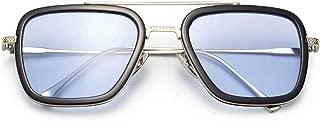 Polarized Retro Square Sunglasses Metal Frame for Men Women Sunglasses Downey Iron Man Tony Stark