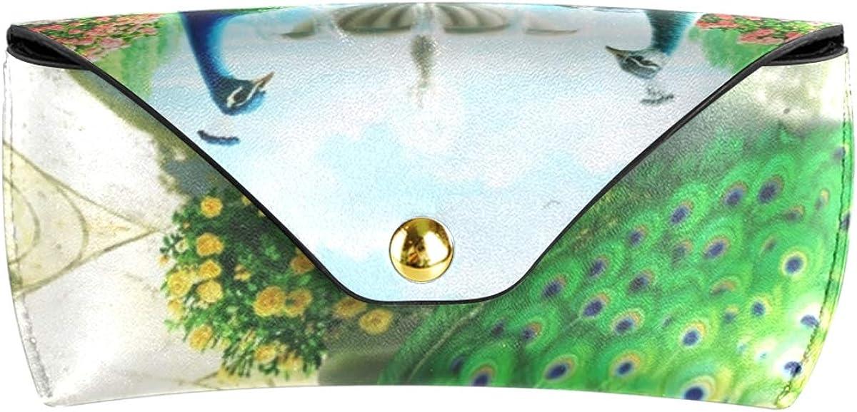 Flower Peacock Multiuse PU Leather Sunglasses Case Eyeglasses Pouch Cute Goggles Bag Portable