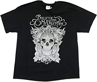 Bullet For My Valentine Floral Skull Black T Shirt