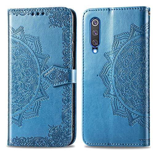 Bear Village Hülle für Xiaomi MI 9 SE, PU Lederhülle Handyhülle für Xiaomi MI 9 SE, Brieftasche Kratzfestes Magnet Handytasche mit Kartenfach, Blau
