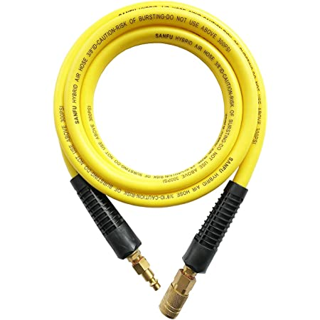 SANFU Hybrid Air Hose 1//4-Inch x 25ft 300 PSI Heavy Duty Bend Restrictors Orange Lightweight All-Weather Flexibility with Brass Quick Coupler and Plug Kink Resistant 25