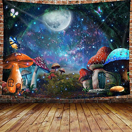 DBLLF Fairy Forest Tapestry Magical Mushroom Castle Fairy House Wall Tapestry Fairy Tale Wall Hanging, Cotton Art Large Tapestries Fantasy Galaxy Moon Stars Backdrop, for Home Decor (80 x 60 inches)