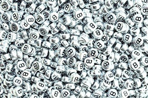 Argent rond plat Lot de 100 perles en acrylique rondes et plates (lettres mixtes ou simples) 7 mm, Acrylique, letter B, 7 mm