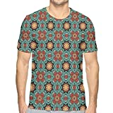 LLALUA Mens 3D Printed T Shirts,Hand Drawn Lace Design Blooming Foliage with Retro Inspirations Ethnic Pattern L
