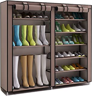 TXT&BAZ 27-Pairs Portable Boot Rack Double Row Shoe Rack Covered Nonwoven Fabric (7-Tiers Brown)