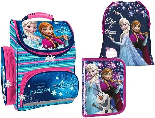 Die Eisk gin Set Schulranzen Rucksack Federmappe Turnbeutel Disney Frozen 3 teiliges Set