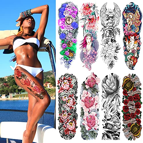 Sleeve Tattoos for Women Teen Girls and Kids,Christmas Full Arm Japanese Tattoo Flowers,Waterproof and Long-Lasting Body Art Realistic Tattoo Stickers