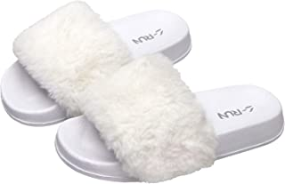 L-RUN Girls Fur Slide Slipper Furry Sandals Open Toe Fuzzy House Slippers Soft