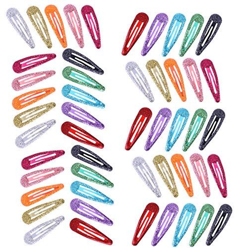 Frcolor 10 couleurs en métal Snap Barrettes à paillettes paillettes pour femmes et filles, 50 pcs (Couleur aléatoire)