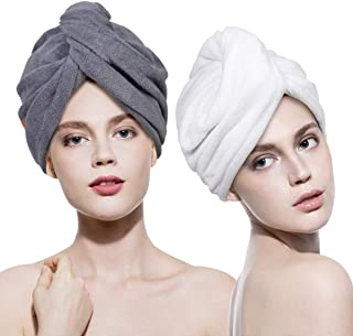 2 Pack Hair Towel Wrap Turban Microfiber Head Drying Towels Quick Dry Magic Hat with Button Shower Wrapped Cap for Women Long Curly Hair Anti-Frizz (White and grey)