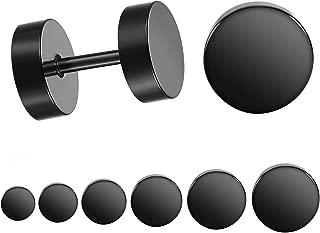 Black Stud Earrings Men Women Faux Gauges Ear Tunnel Stainless Steel Earrings 6 Pairs 5mm-10mm