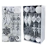 Valery Madelyn 50ct Frozen Winter Shatterproof Christmas Ball Ornaments Decoration Silver White,Themed with Tree Skirt(Not Included)
