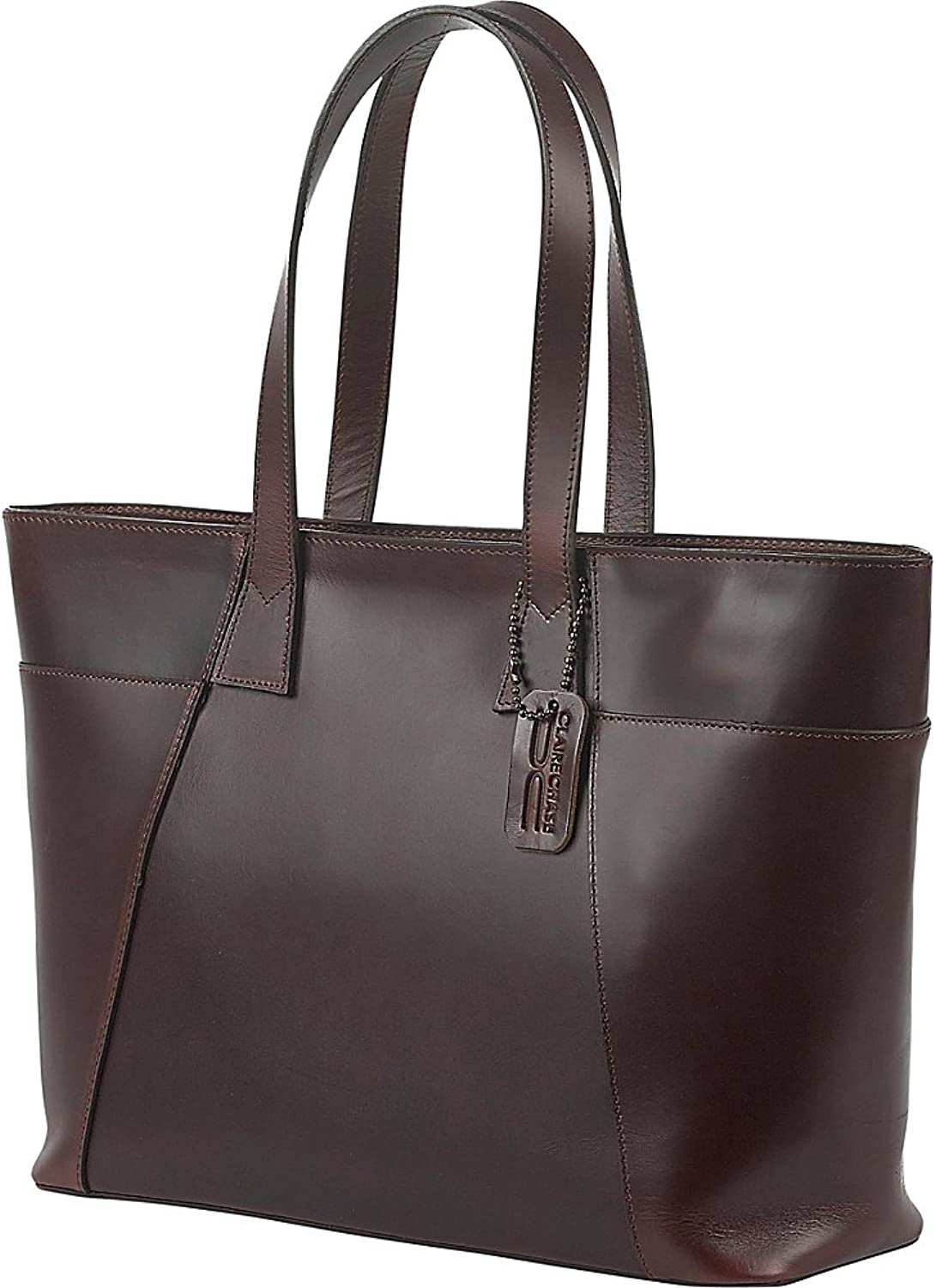 Claire Chase Women's Classic Zippered Tote Shoulder Bag, Chestnut Brown, One Size