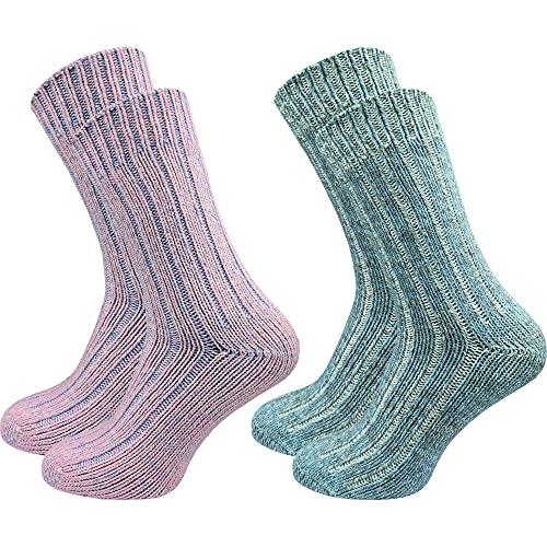 2 Paar hochwertige Damen Norweger Socken – Wollsocken - super weich - kein Kratzen - wie selbstgestrickt - dick & warm - ohne Gummidruck - ohne drückende Zehennaht - hoher Wollanteil (35-38, farbig 1)