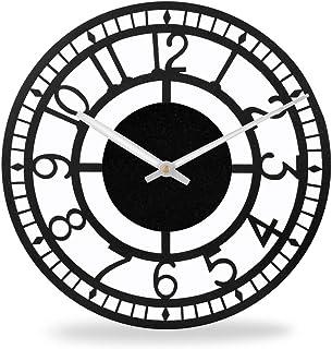 Black Metal Wall Clocks for Living Room Decor | Powder-Coated Steel Wall Clock for Bedroom Stylish Latest | Iron Clocks fo...