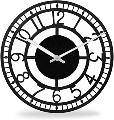 Black Metal Wall Clocks for Living Room Decor   Powder-Coated Steel Wall Clock for Bedroom Stylish Latest   Iron Clocks for Home and Kitchen Decorative by Sehaz Artworks