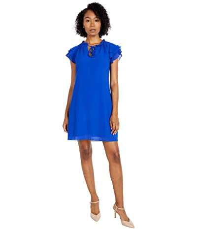 Vince Camuto Chiffon Tie Front Float with Short Ruffle Sleeve (Cobalt) Women