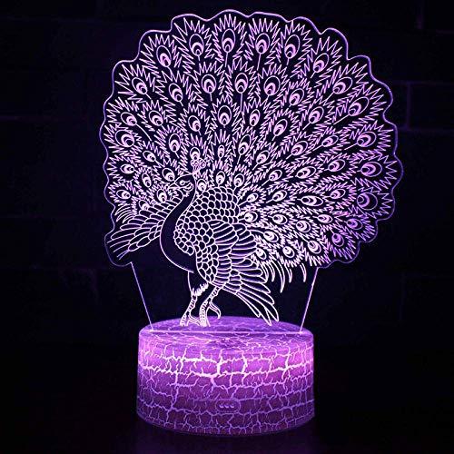 Open lichten van de pauw hema 3D, de weergegeven kleur veranderende noten sfeerlicht kerstgeschenken van het nachtlampje 7