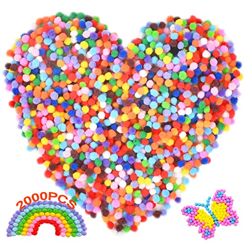 Pom Pom Balls 2000 Pcs Small Pom Poms Colourful Pom Pom Fluffy Plush Pom Mini Pom Poms Soft Pom Poms Felt Pom Poms Assorted Color for Children Kids Craft Hobby Supplies and Decoration 1cm