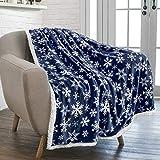 PAVILIA Premium Christmas Sherpa Throw Blanket | Blue Snowflake Decoration, Fleece, Plush, Warm, Cozy Reversible Microfiber Holiday Blanket 50 x 60 Inches
