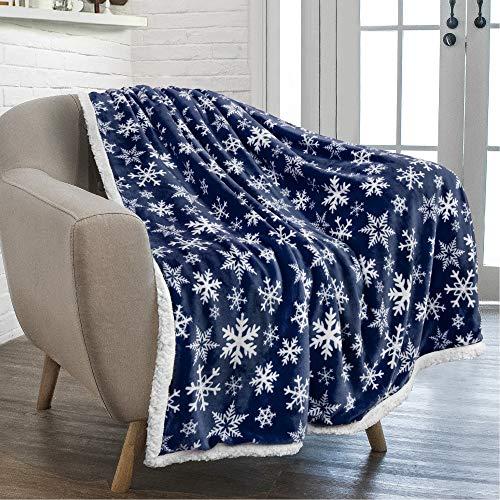 PAVILIA Premium Christmas Sherpa Throw Blanket   Blue Snowflake Decoration, Fleece, Plush, Warm, Cozy Reversible Microfiber Holiday Blanket 50 x 60 Inches