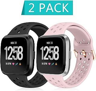 Financingpig for Fitbit Versa/Versa 2 / Versa Lite/SE、男女兼用複数の色の柔らかい通気性シリコンストラップ交換用リストバンド (黒+ピンク)