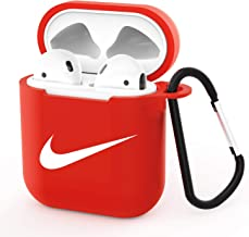 Gebaisi Case Protective TPU Cover and Skin for Apple Airpods Charging Case with Keychain Red White A