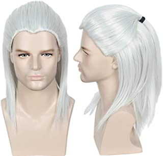 Linfairy Anime Cosplay Wig Long Sliver Halloween Costume Wig for Men