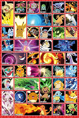 GB Eye Pokémon Moves Maxi Poster, Holz, Mehrfarbig, 61x 915cm