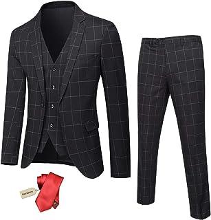 YND Men's Slim Fit One Button 3 Piece Suit Set, Blazer Jacket Vest Pants and Tie, Solid Wedding Dress Tux and Trousers Bla...