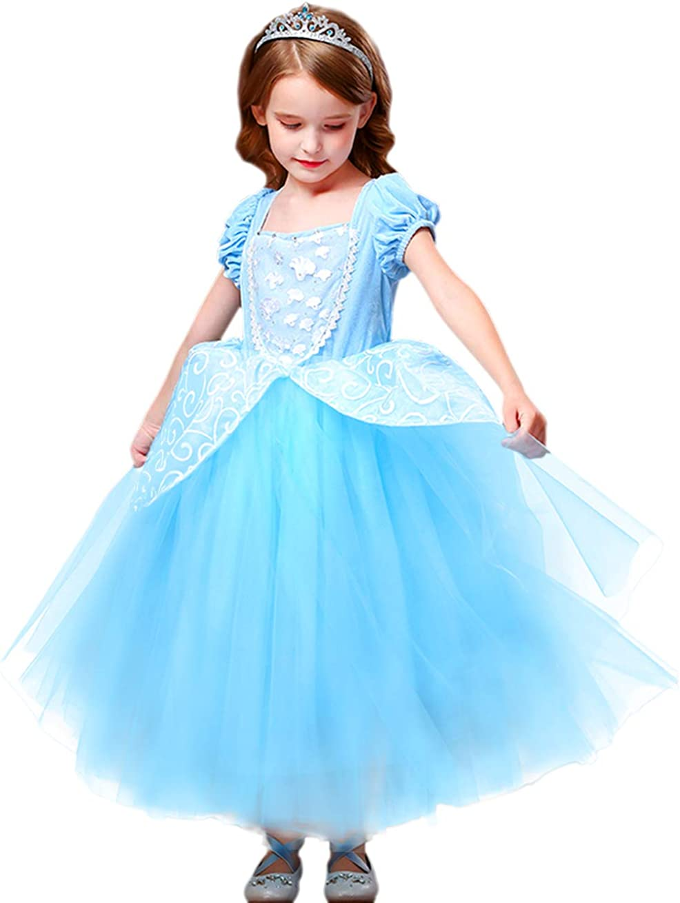 Princess Cinderella Girls Costume Party Fancy Halloween Cosplay Dress Up with Accessories