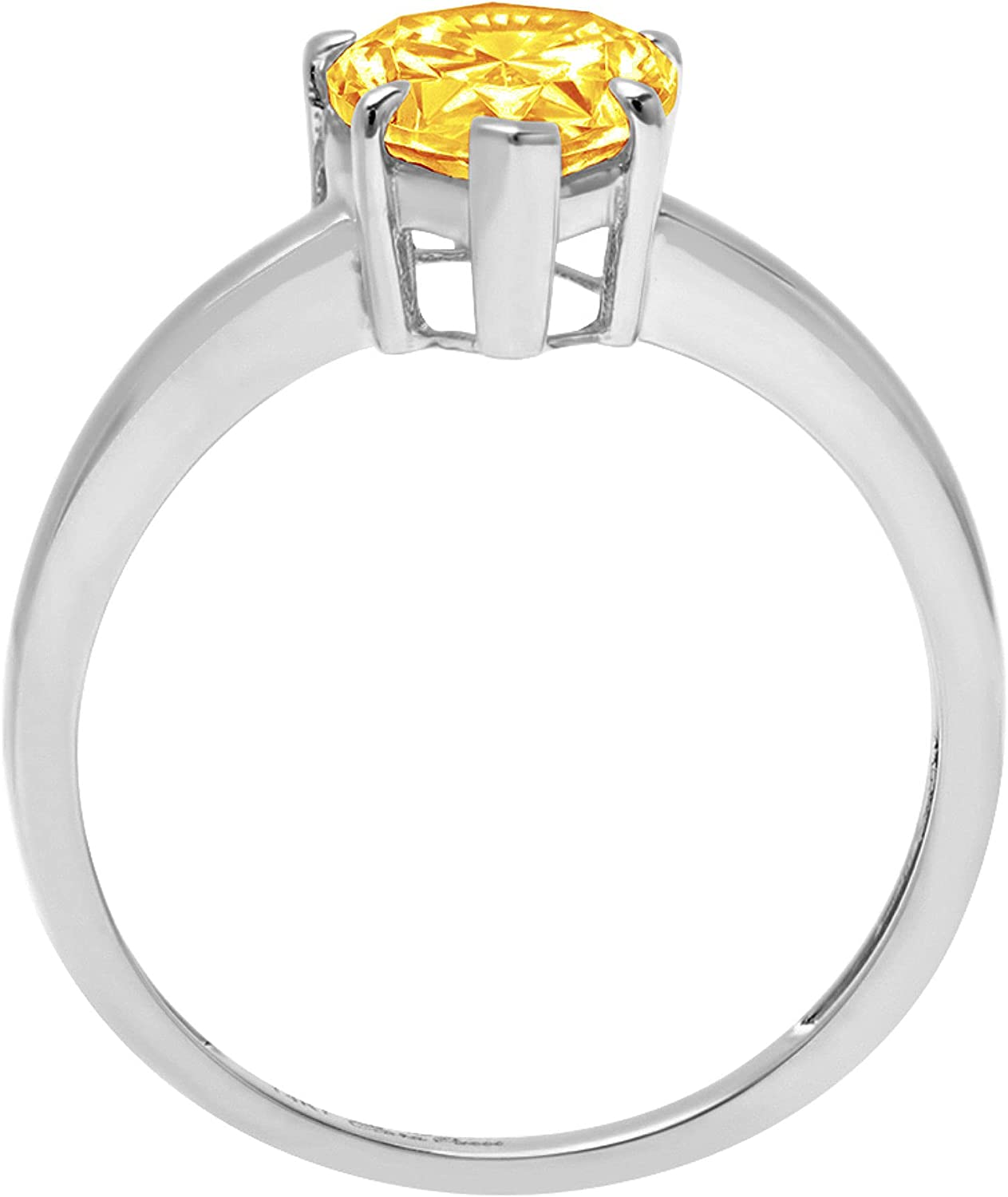2.4ct Brilliant Pear Cut Solitaire Natural Yellow Citrine Ideal VVS1 Engagement Wedding Bridal Promise Anniversary Ring Solid 14k White Gold for Women