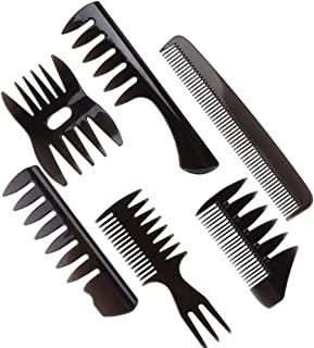 6pcs/set Hairdressing Comb Retro Style Men Oil Hair Portable Wide Large Tooth Hairstyle Practical Convenient Comb