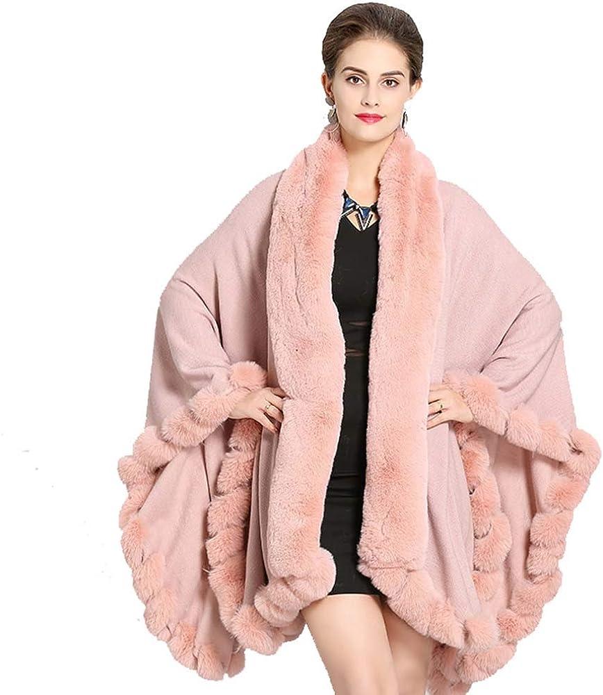 Faux Fox Fur Collar Fur Cape Coat Women in Autumn and Winter Models