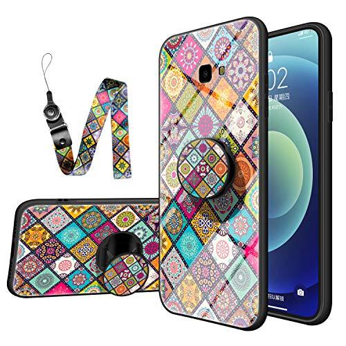 JZ Capa de vidro para Galaxy J4+ estilo nacional design flor para Samsung J4 Plus/J4+ com [Soft Plus + Capa traseira de vidro temperado] - B