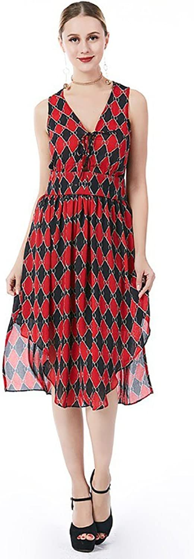 YAN Kleid der Frau Frauen Kleid Mode V-Ausschnitt ärmellose 2018 Frühling und Sommer Party Strand täglich Casual bei Ihnen zu Hause B07CFQL8CY  Gutes Design