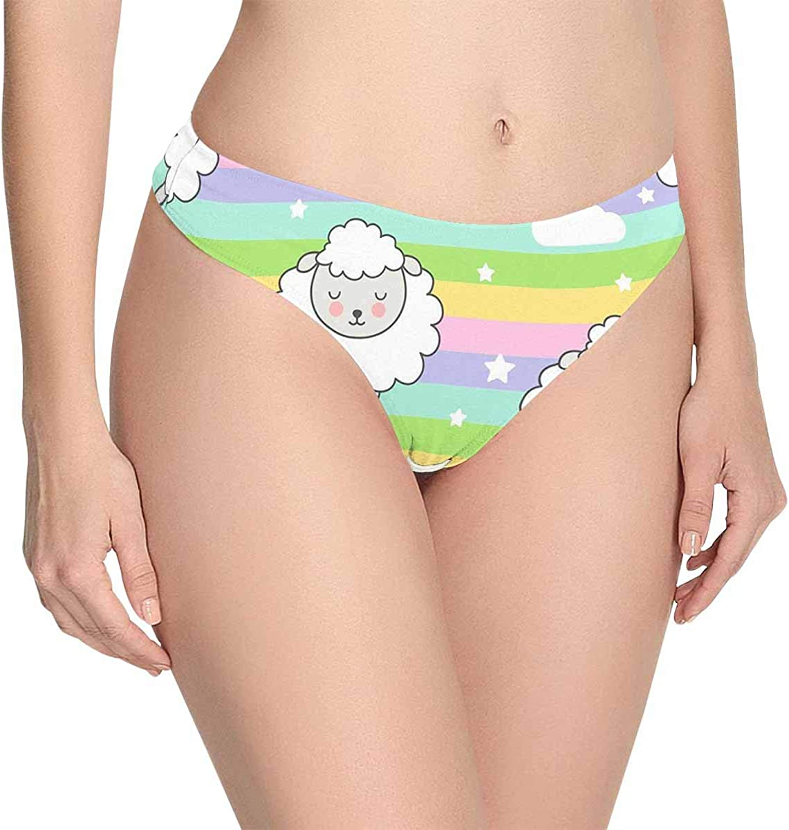 InterestPrint Sheep on Rainbow Background Womens Classic Thongs Breathable Soft Panties Underwear