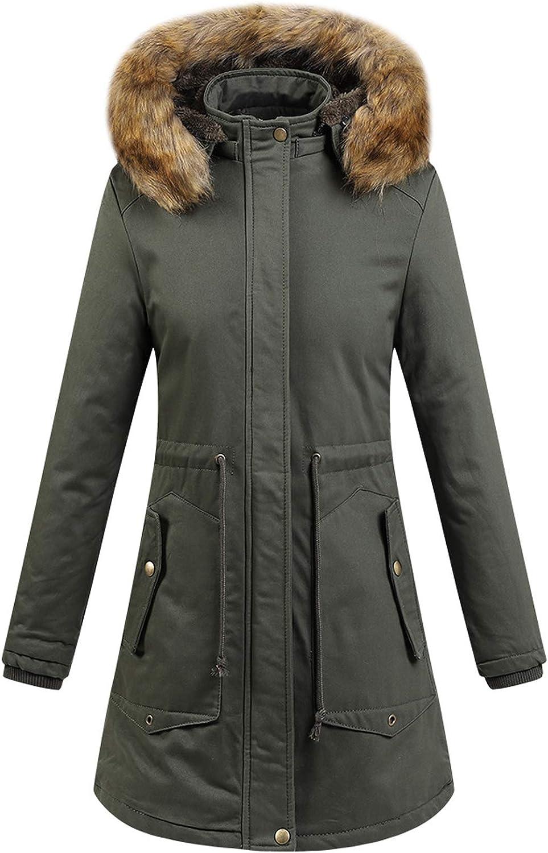 Flygo Women's Casual Hooded Warm Coats Mid-Long Sherpa Lined Parka Jackets