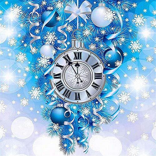 DIY 5D Kit de Pintura de Diamante por Número Reloj de navidad Kit de Pintura con Diamantes Baratos Diamond Painting para Adultos diamantes completo Rhinestone Pegado Artes Artesanía,25x25cm