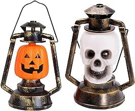 SOLUSTRE 2pcs Halloween Candle Lantern Creative Sound Pumpkin Skull LED Candle Decorative Hanging Lantern for Haunted Hous...