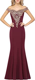 MisShow Long Gold Lace Applique Mermaid Prom Dress Off Shoulder Formal Evening Gowns