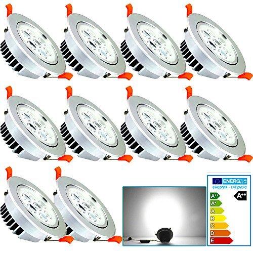 Preisvergleich Produktbild VINGO® 10 Stücke 7W LED Einbauleuchte Dimmbar Kaltweiß Einbaustrahler Spot Energiesparlampe Set Rahmen Silber 230V