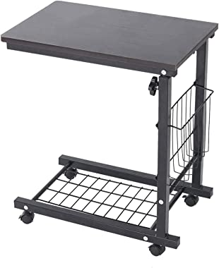 CSBYBD Over Bed Table C Side Rolling Table Adjustment Levels with Lockable Wheels Medical Portable Notebook Laptop Desk TV Tr